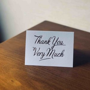 Standard Thanks you card – 148x105mm
